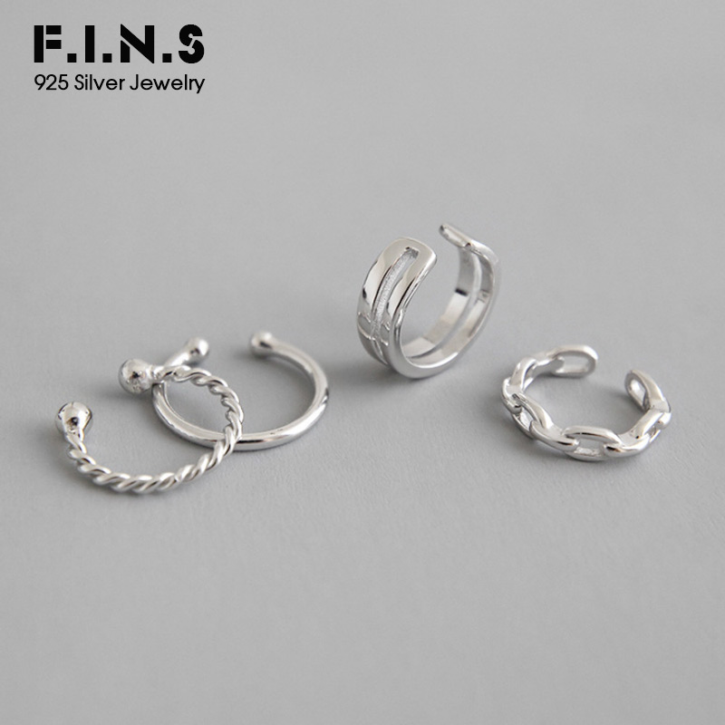 F.I.N.S 1PC S925 Pure Sterling Silver Ear Cuff Chain Double-Layer Female Earrings Stackable Korean Clip Earrings Without Piecing