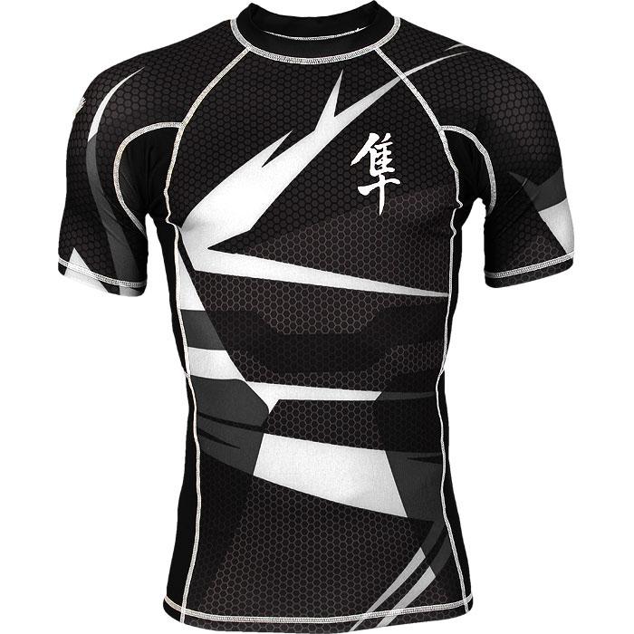 Prix pour Haute qualité Hayabusa compression blanc noir À Manches Courtes MMA Serré t-shirts jiu jitsu bjj sublimé maillots