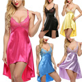 Yellow Green Blue Purple Black Rose Lace Halter Night Wear Women Slip Satin Night Dress Nightgowns Sexy Lingerie Sleepwear Robes