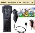 2 unids Set Remote Y Nunchuck Para Nintendo Wii + Funda de Piel Negro