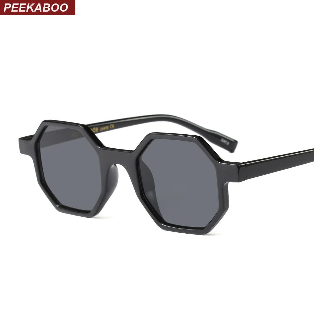 Peekaboo octagon sunglasses women brand designer vintage polygon black brown red small sun glasses female male uv400