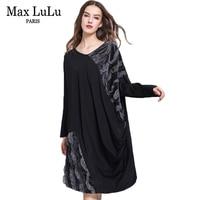 Max LuLu Autumn Luxury Brand Designer Womens Long Velvet Dresses Lace V Neck Sexy Ladies Boho
