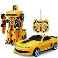 2 в 1 Пульт Дистанционного Управления Робот Шмель Преобразование Автомобиль автомобиль Игрушки Гонки подарок с Легкой Музыкой