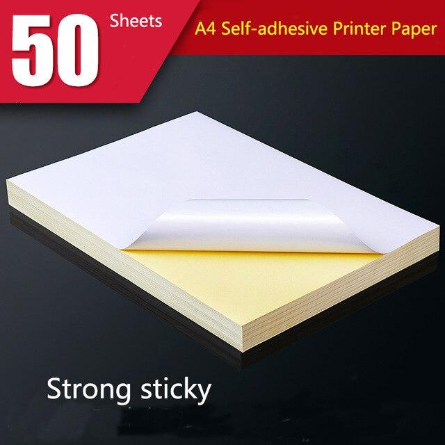 50 yaprak A4 beyaz kendinden yapışkanlı etiket etiket mat yüzey kağıt levha lazer mürekkep püskürtmeli yazıcı için fotokopi kraft el işi kağıdı