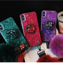 Luxury colorful marbled 3D shiny diamond stand fashion hair ball lanyard cover case for iphone MAX XS XR 6 7 8 plus X phone case(China)