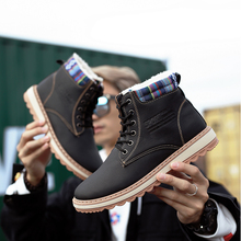 Warm Winter Boots Men High Quality PU Leather Snow Casual Shoes Working Fashion Fur Comfortable Working Fashion Boots цена 2017