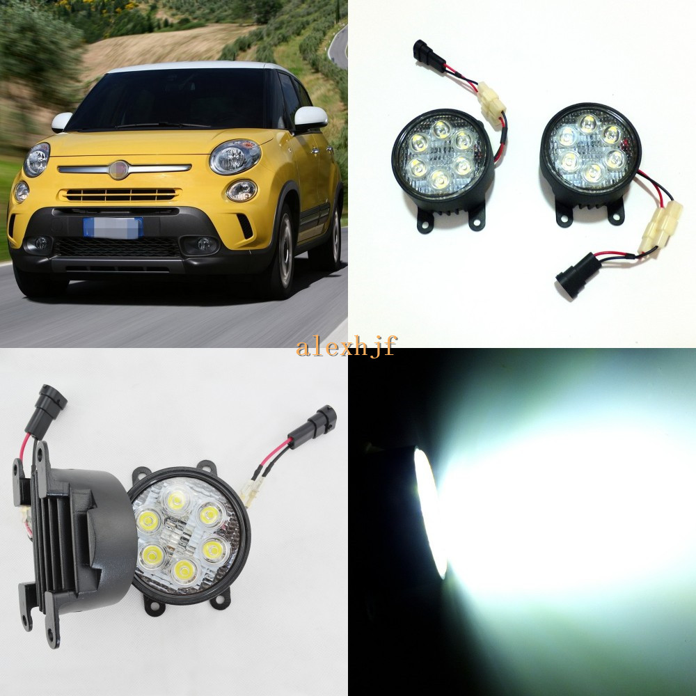 July King 18W 6LEDs H11 LED Fog Lamp Assembly Case for Fiat 500 500L 2012~2016, 6500K 1260LM LED Daytime Running Lights