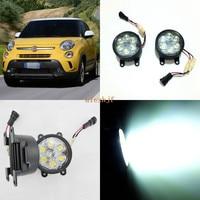 July King 18W 6LEDs H11 LED Fog Lamp Assembly Case for Fiat 500 500L 2012~2016, 6500K 1260LM LED Daytime Running Lights
