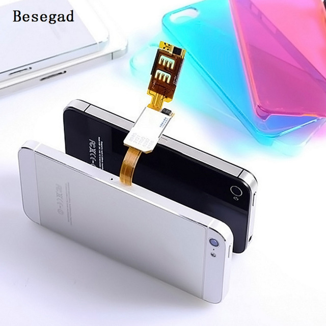 on sale a65d1 25123 US $1.86 50% OFF|Besegad Dual SIM Single Standby Card Adapter for Apple  iPhone 5 5S SE 6 6S Plus iphone6 iphone5 iphone6s iphone5s Gadgets -in SIM  ...
