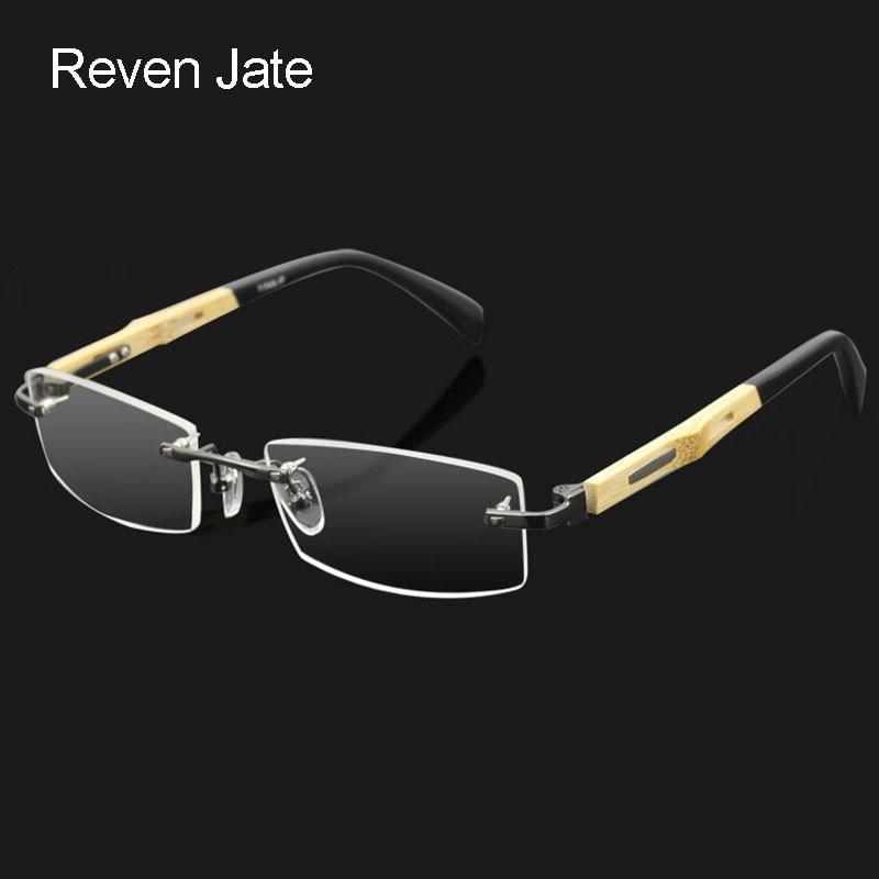 Marco de anteojos de aleación de patas de templo de bambú sin montura de Reven Jate para hombres Gafas Gafas ópticas Hombre Gafas graduadas con receta