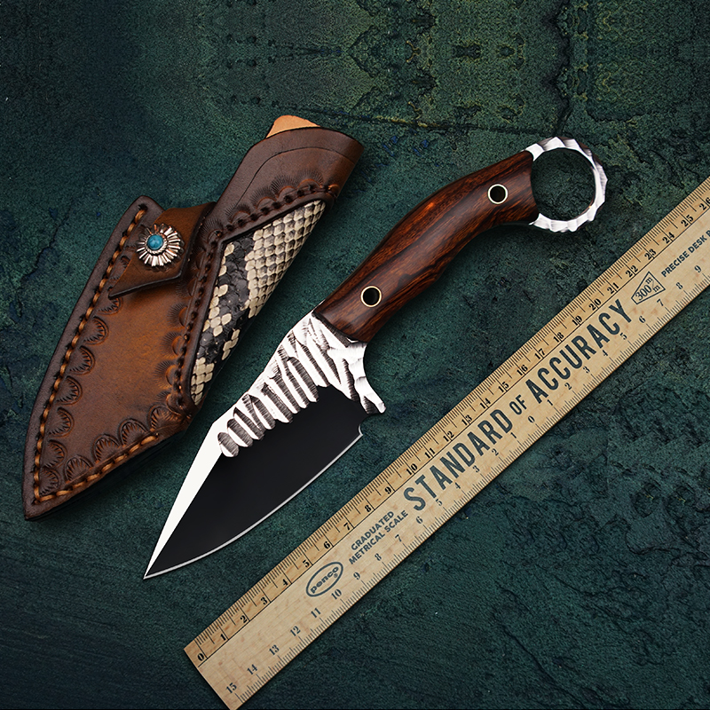 TUREN 12C27N Steel Fixed Blade Knife Full Tang Hunting Knives Handmade Knife Outdoor Survival Tools With Leather Sheath-in Knives from Tools    1