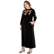 185716 Large Size Womens Dresses Middle East Muslim Ramadan Euramerica Style Round Embroidery Ethnic Musulman Vestidos