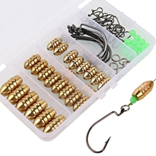 Fishing Sinkers Set Bras Sinker Weights Jig Hook Swivel Ring Connector with Box  #8