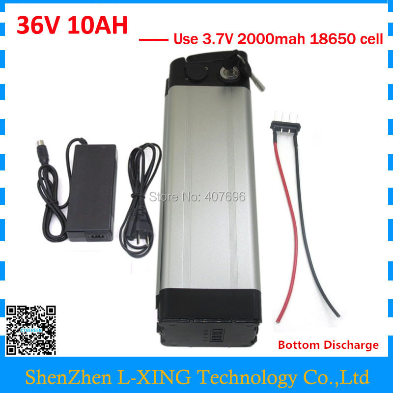 Electric Bike battery 36V 10AH 500W silver fish Battery 36 V 10AH Lithium battery with 15A BMS 42V 2A Charger Free customs fee free customs tax 36v 500w ebike lithium battery 36v 15ah electric bike down tube bottle battery with charger for samsung cell