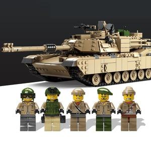 Image 2 - קאזי חדש נושא טנק אבני בניין 1463pcs אבני בניין M1A2 אברמס MBT KY10000 1 שינוי 2 צעצוע טנק דגמים צעצועים לילדים