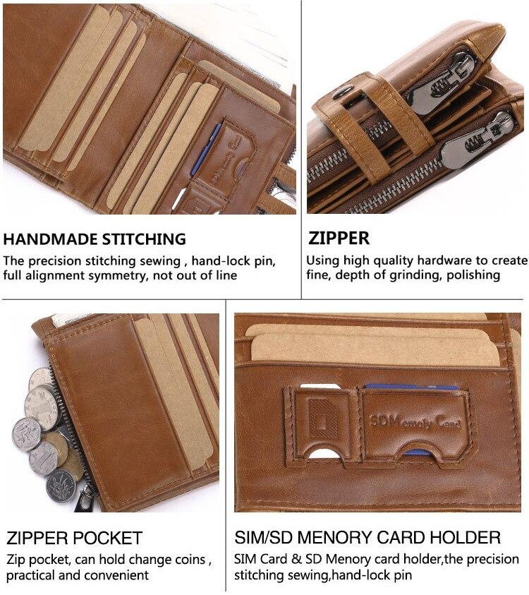 Artmi Mens Äkta Läder Bifold Kort Väska Plånbok Dubbla Zipper - Plånböcker - Foto 5