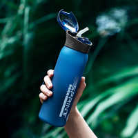 BPA Free My Water Bottles Portable Outdoor Sports Drinkware Durable Plastic Bottle with Straw Rope 600ml Protein Shaker Bottle