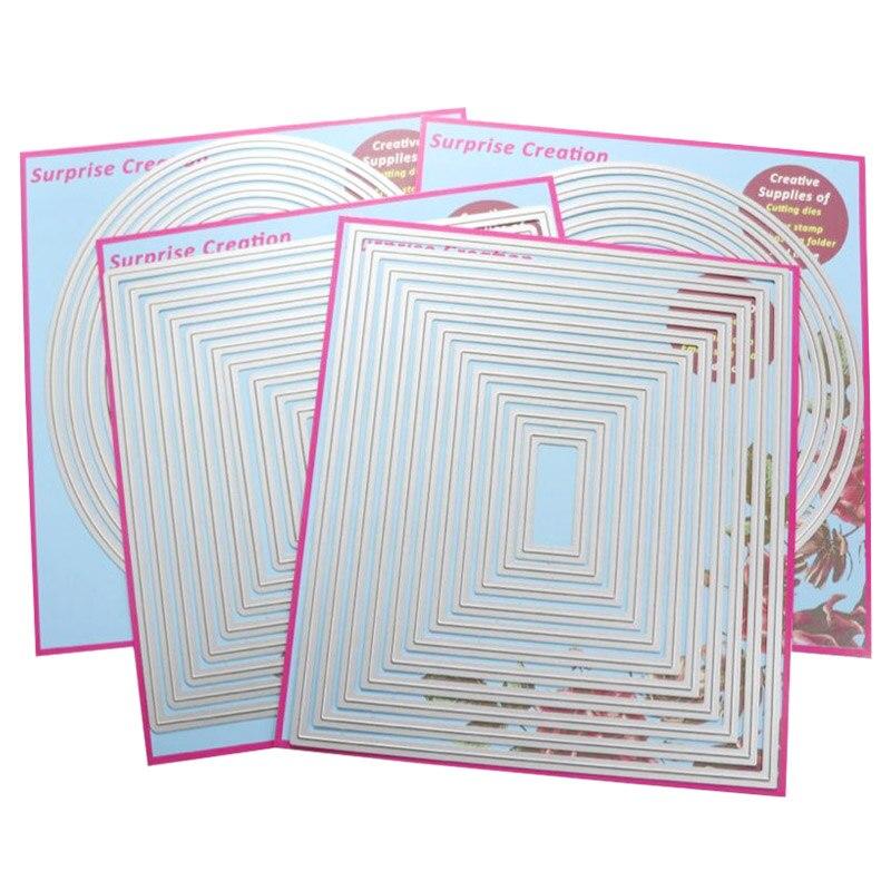 4-Set Large Cutting dies dashing Rectangle Square Circle /& Oval Cardmaking