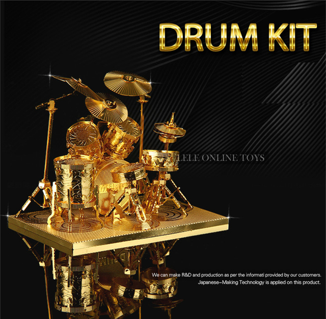 Chinese Metal Earth Drum Kit 3D metal model nano Puzzles Brass DIY Create by you Creative gifts Christmas