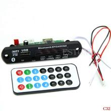 Free Shipping Bluetooth MP3 WMA Decoder Board 12V Wireless Audio Module USB TF Radio for CarC32