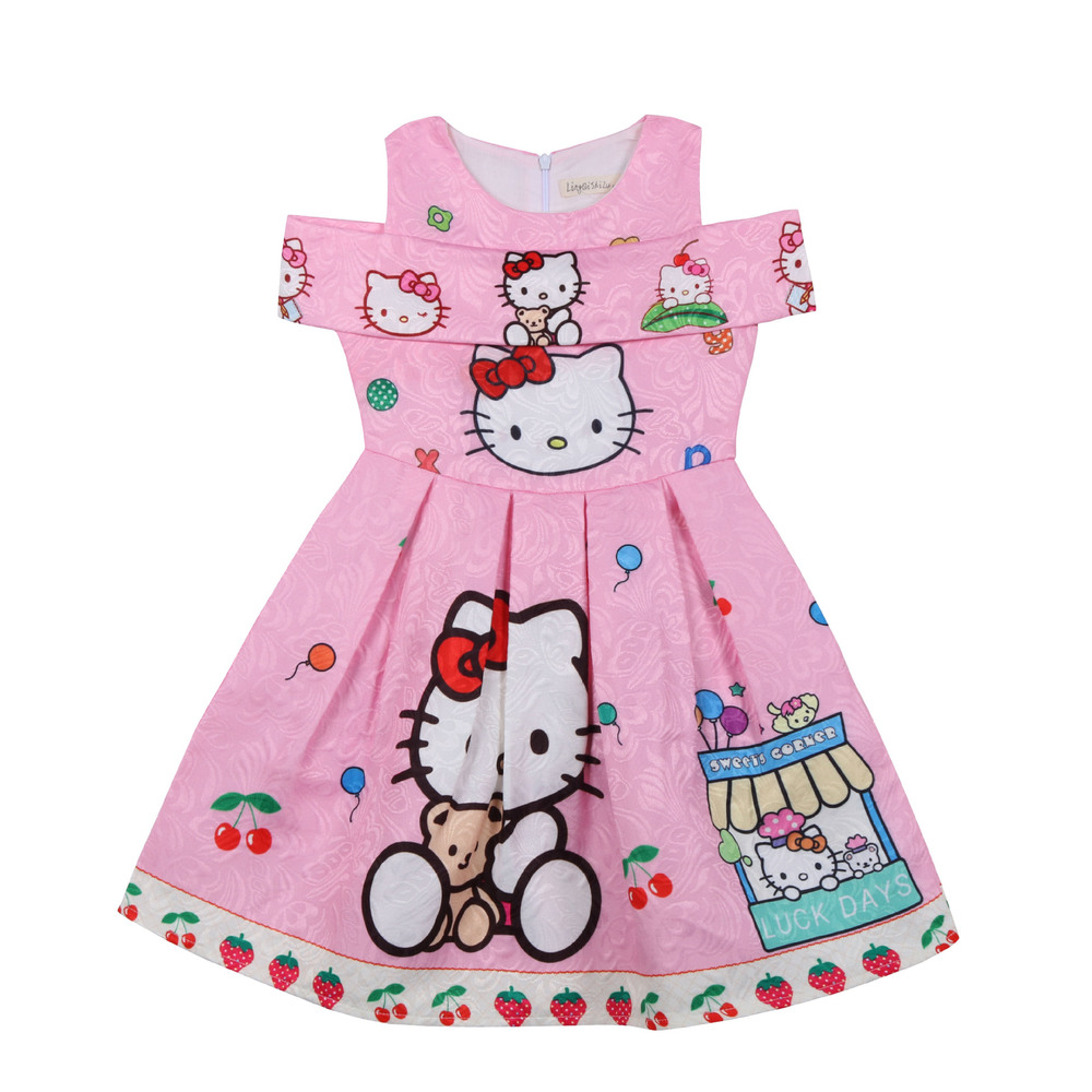 2018 New Summer Dress Cartoon Hello Kitty for Girls Clothes Printed Baby Princess Kids Girl Sleeveless Dress Children Clothing 2018 children s clothing new short sleeved girls printed shoulders children princess puff dress baby girl clothes baby