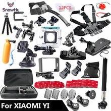 SnowHu dla Xiaomi Yi zestaw akcesoriów wodoszczelna obudowa ochronna ramka graniczna mocowanie do pasa piersiowego Monopod do kamery Xiao yi GS56