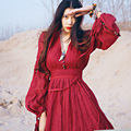 MX027 Spring 2016 Retro bohemian style women burgundy linen empire maxi long puff sleeve vintage dress