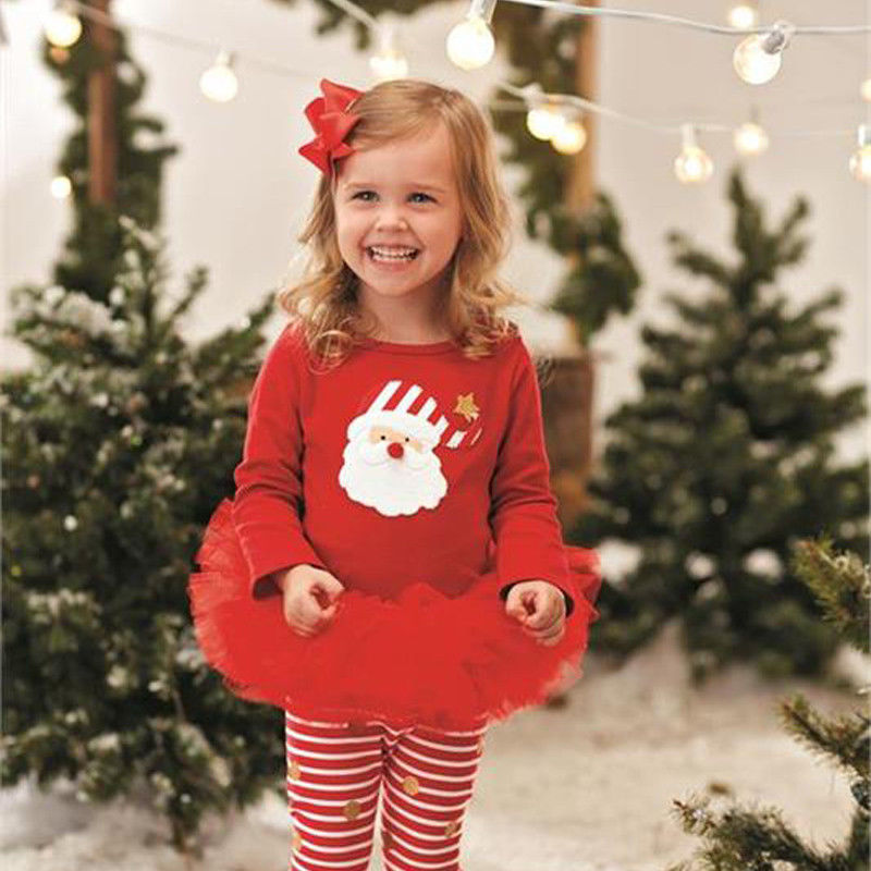 4edf9e9fc Xams Cute Baby Girl Santa Outfits Toddler Kids Babies Girls Christmas Set  Tutu T shirt Top+Pants Clothes Sets-in Clothing Sets from Mother & Kids on  ...