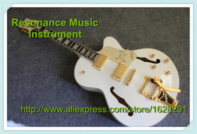 Cheap Best China G6136 White Electric Guitar Hollow Binding Guitarra Body With Golden Bigsby and Pickguard In Stock