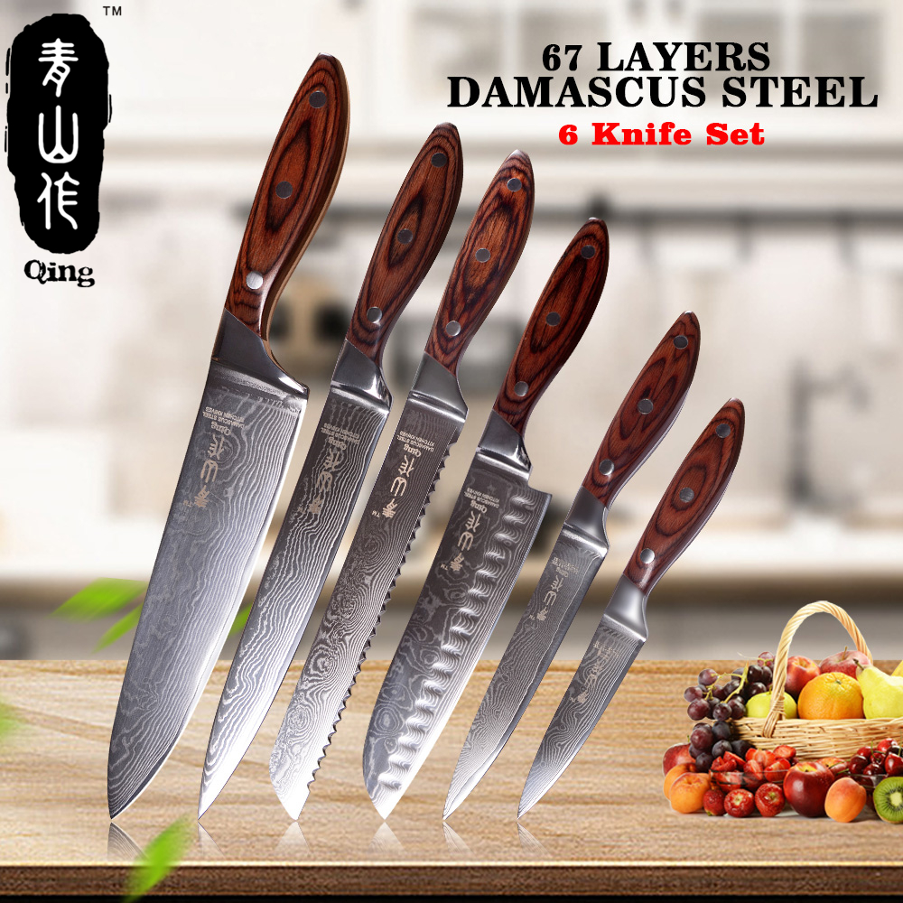QING 6-Pieces Kitchen Knife Set 3.5 5 7 8 8 8 Color Wood Handle Japanese Damascus Knives 67-Layer VG10 Steel Cooking Tools