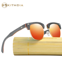 Kithdia Brand Polarized Half Metal / Wooden Sunglasses Bamboo and Support DropShipping Provide Pictures #KD036