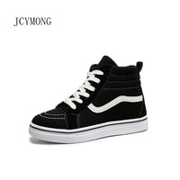 JCYMONG New Fashion Women Wedges Causal Shoes High Platform Black Red PU Leather Sneakers Zapatillas Muje