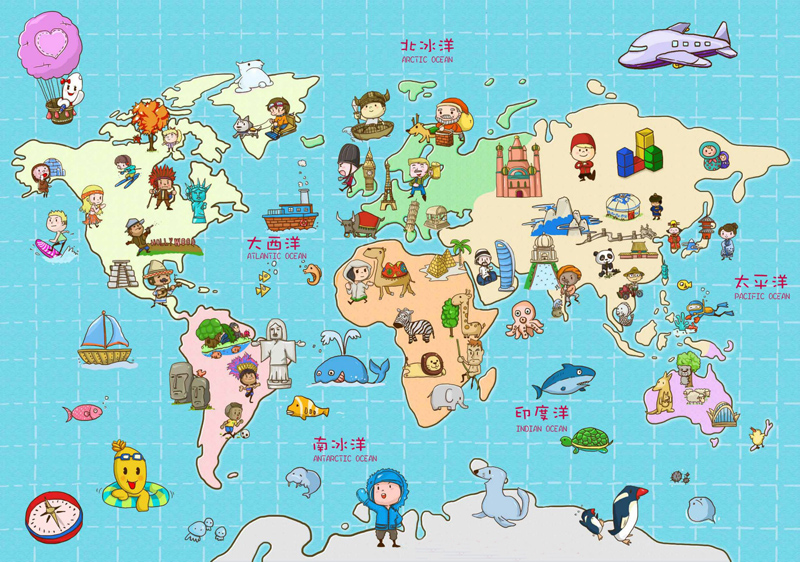 Top Grade Photo Paper Posters Children Cartoon World Map