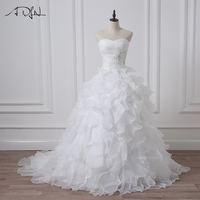 ADLN 2017 Robe De Mariage White/ Ivory Ball Gown Wedding Dress Applique Beaded Pleats Ruffled Organza Bridal Gowns In Stock