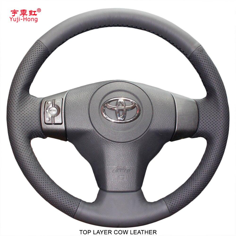 Yuji-Hong Carro Volante Cobre Caso para Toyota Yaris Vios 2008-2013 RAV4 2009-2010 Mão- costurado Genuine Top Layer Couro De Vaca