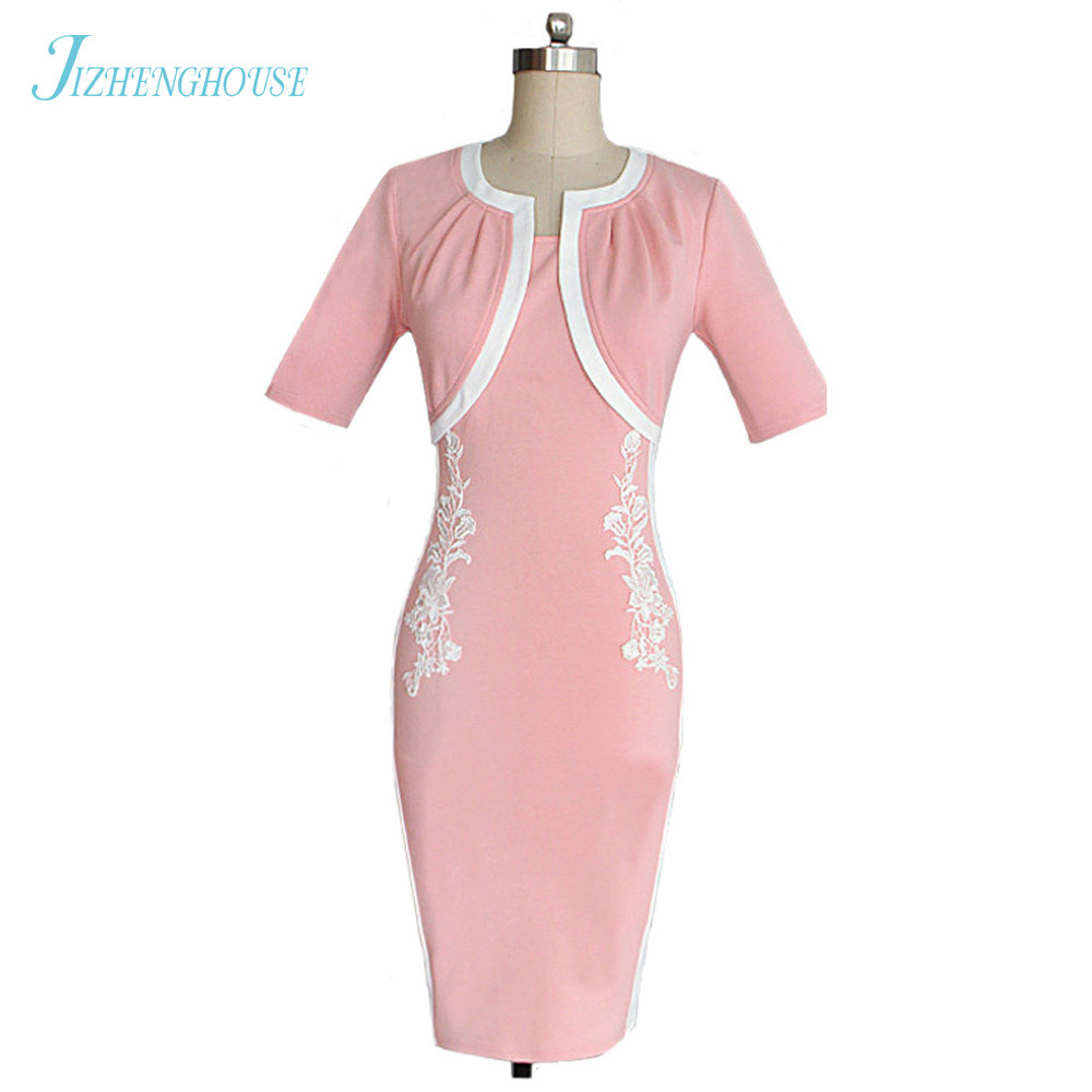 JIZHENGHOUSE New Arrival Women Short Sleeve Bandage Dresses Elegant Knee-length Party Retro Vintage Dress