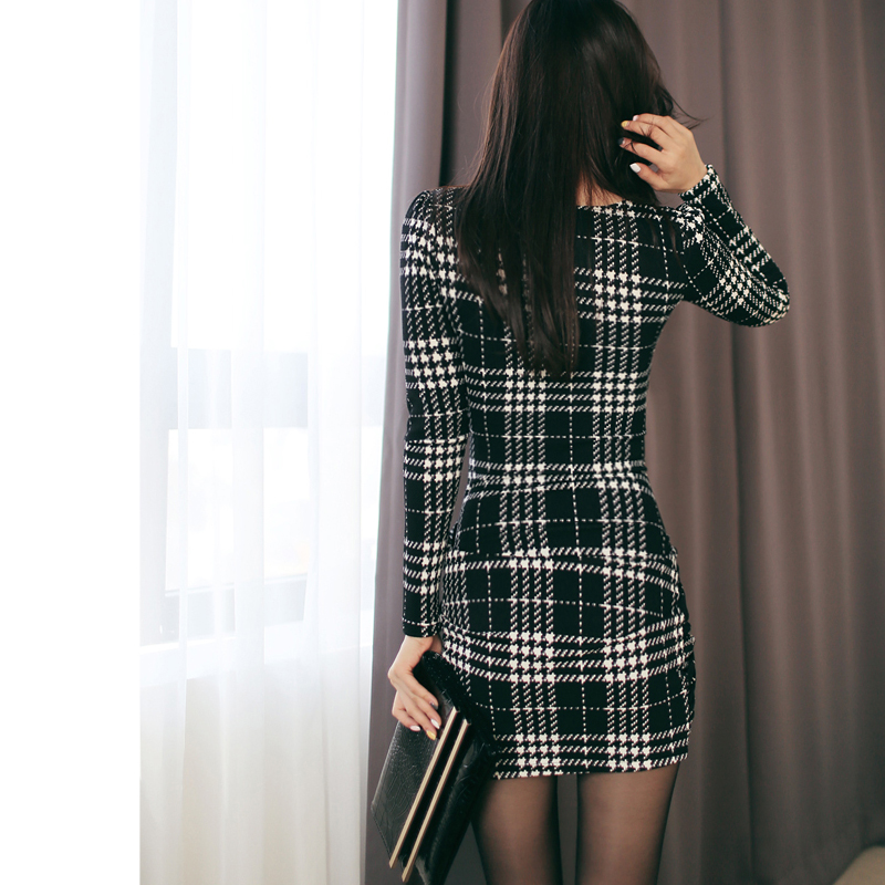 Sexy Vintage Plaid Dresses 2019 Spring Women Long Sleeve Bodycon Office Business Work Dress Club Party Pencil Dress in Dresses from Women 39 s Clothing