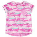Pink Cute Crocodile Pattern Children's Short T Shirt Cothing with Button Cotton Girls Stripe T-shirt for Kids JD10009