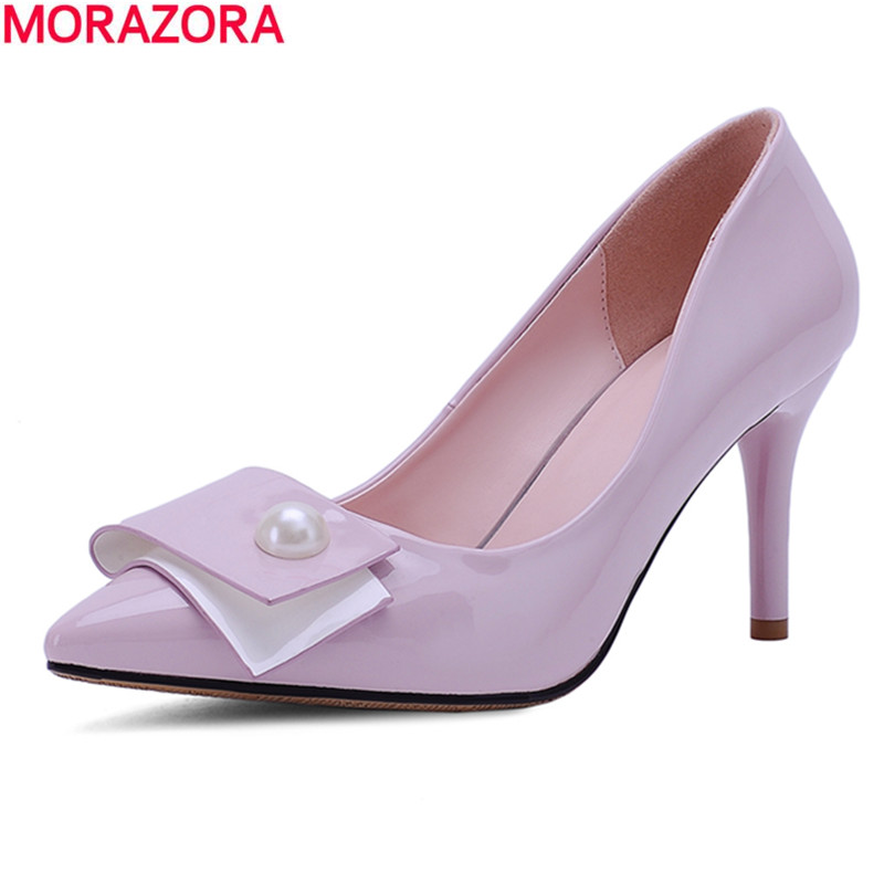MORAZORA Summer new fashion high heels PU soft leather wedding dress shoes thin heels pointed toe