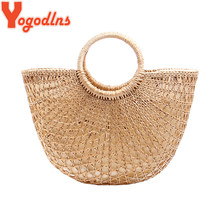 Yogodlns Fashion Popular Woven Bags Hollow Out Straw Handbags Summer Rattan Beach Bag String Knitted Straw Hand Bag Bohemian(China)