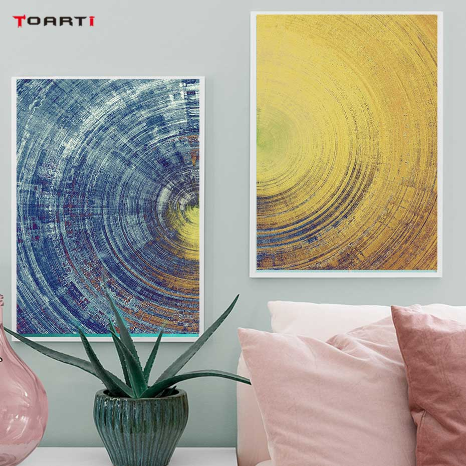 Image 4 - Abstract Blue And Yellow Circles Pattern Canvas Painting Modern Posters And Prints Wall Art Pictures For Living Room Home Decor-in Painting & Calligraphy from Home & Garden