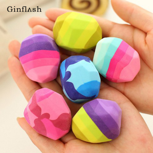 1pc Colorful Stone Shape Eraser Geese Soft Rubber Eraser Irregular Rock Big Pen Eraser Student Stationery Supplies Color Random