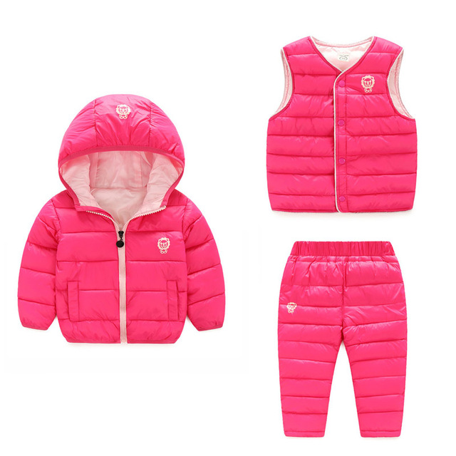 2019 Boy Girl Clothing Sets Winter 3Pcs Children Suit Hoody Down Jacket Pants Vest Waterproof Snow New Year Kids Clothes Costume