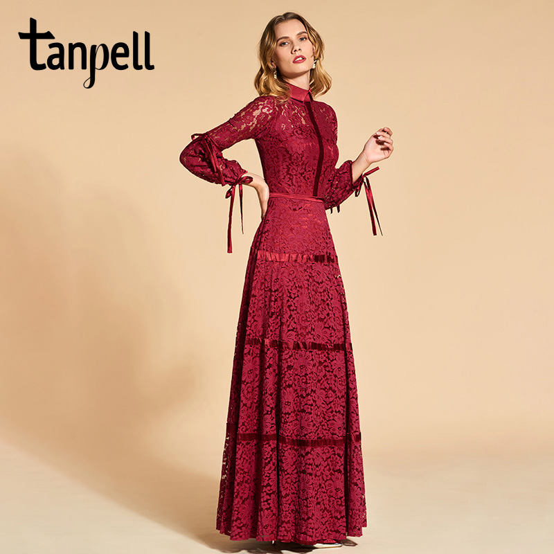 05b5840a40598 Tanpell lace evening dress elegant rust red 3/4 sleeves floor length a line  gown