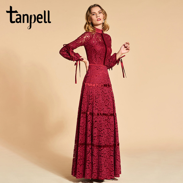Tanpell lace evening dress elegant rust red 3 4 sleeves floor length a line  gown women high neck plus customed evening dresses 8cfed2ac7d5f