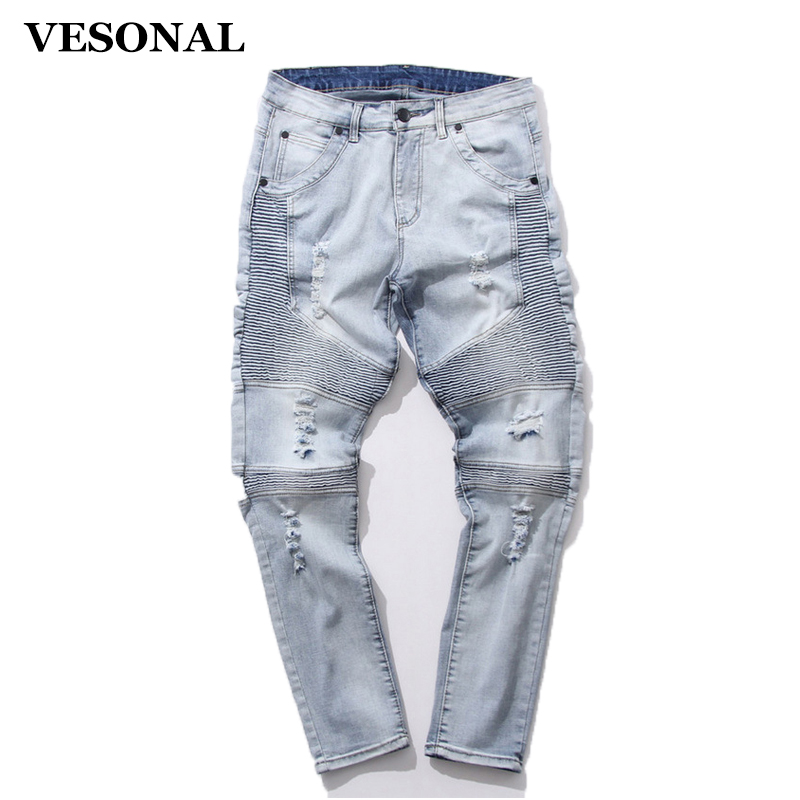 VESONAL Fashion Trend New 2017 Adolescent's Men Biker Jeans Slim Fit Brand Quality Male Skinny Ripped Jeans Denim Hole Trousers 2017 fashion patch jeans men slim straight denim jeans ripped trousers new famous brand biker jeans logo mens zipper jeans 604
