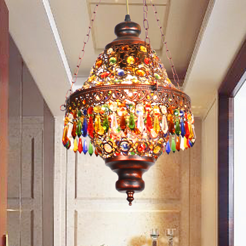 A1 Coffee small chandelier creative Mediterranean Southeast Asia crystal chandelier Bohemia restaurant light