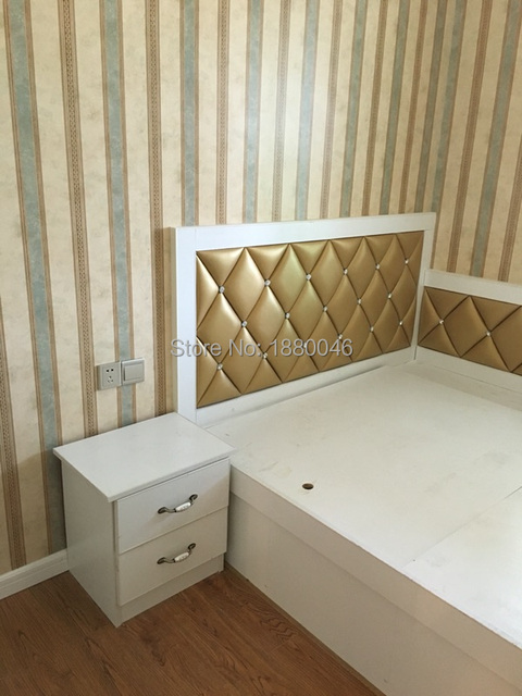 Brand new Gold color 3D glue on PU Leather wall panel Diamonds wall sticker Interior wall Decor for Bedroom wall art