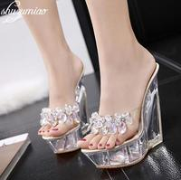 Women Shoes Diamond High heeled 14cm Sandals Slippers Crystal Slide Waterproof Non Slip Bottom Thick Summer Female Sexy Sandals