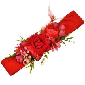 Image 2 - 2018 Red Flower Elastic Waist Belt For Women Fashion Beach Floral Forest Dress Belts Strap Girls Ladies Fabric Waistband Belts